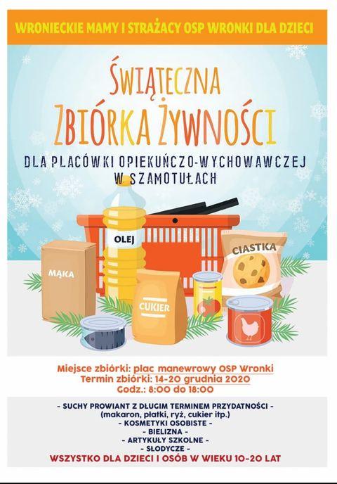 Plakat reklamujący Świąteczną Zbiórkę Żywności